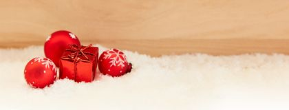 Gift for Christmas as a background banner royalty free stock image