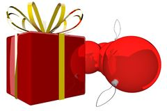 Gift and Christmas baubles Royalty Free Stock Image
