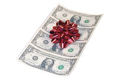 Gift of Christmas Cash. Gift of money Stock Photos