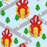 Gift Christmas city seamless pattern. Fantastic urban district. Stock Photos