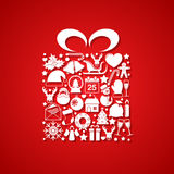 Gift with Christmas icons Royalty Free Stock Photos