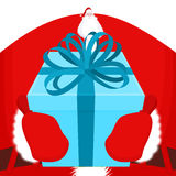 Gift on Christmas. Santa gloves and box with bow. Red tape and y Stock Image