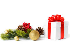 Gift with christmas tree Royalty Free Stock Photo