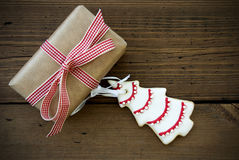 Gift With Christmas Tree Royalty Free Stock Photography