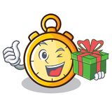 With gift chronometer character cartoon style Royalty Free Stock Photos