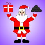 Gift or Coal. Santa Claus is stand. Cute cartoon character for Christmas Holiday. Vector illustration for Your Design, Card. vector illustration