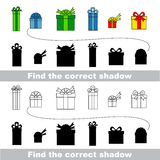 Gift collection. Find correct shadow. Royalty Free Stock Images