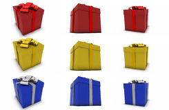 Gift collection on white background. Collection of different colored gifts on white background Vector Illustration