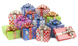 Gift colored boxes with blank gift tag Stock Images