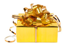 Gift in colorful package with bows. On white background Royalty Free Stock Image