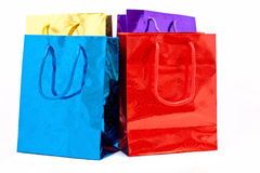 Gift colorful shopping bags. Over white background stock illustration
