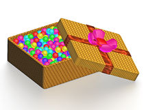 Gift with colour ball Stock Images