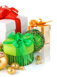Gift with coloured bow Royalty Free Stock Photos