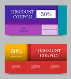 Gift company voucher template. On fifty percent rate discount in colorful material design style. Vector illustration Stock Photos