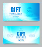 Gift company voucher template. On fifty percent rate discount with halftone effect and wavy blue dynamic light pattern. Vector illustration Stock Photos