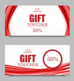 Gift company voucher template. On fifty percent rate discount with wavy red dynamic soft lines pattern. Vector illustration Stock Photos