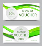 Gift company voucher template. On fifty and thirty percent rates discount with gray circles and wavy green paper lines pattern. Vector illustration Royalty Free Stock Photo