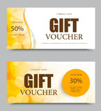 Gift company voucher template. On fifty and thirty percent rates discount with wavy orange lines and transparent circles pattern. Vector illustration Royalty Free Stock Photography
