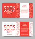 Gift company voucher template. On five hundred dollars with light interweaving lines pattern in red and white colors. Vector illustration stock illustration