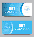 Gift company voucher template. On five hundred and one thousand dollars with light blue wavy dotted pattern. Vector illustration royalty free illustration