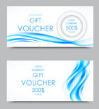 Gift company voucher template. On five and three hundred dollars with blue wavy curved smoky elegant soft lines pattern. Vector illustration royalty free illustration
