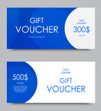 Gift company voucher template. On five and three hundred dollars with blue wavy light pattern. Vector illustration royalty free illustration
