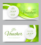 Gift company voucher template. On five and three hundred dollars with gray paper circles and green light wavy pattern. Vector illustration vector illustration
