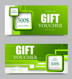 Gift company voucher template. On five and three hundred dollars with green square and straight lines pattern. Vector illustration vector illustration
