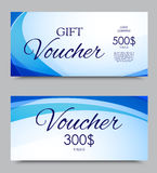 Gift company voucher template. On five and three hundred dollars with light blue wavy lines pattern. Vector illustration royalty free illustration