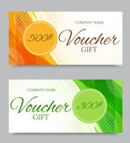 Gift company voucher template. On five and three hundred dollars with orange and green light dynamic pattern and halftone effect. Vector illustration royalty free illustration
