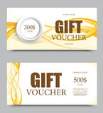 Gift company voucher template. On five and three hundred dollars with white circle and light wavy curved golden lines pattern. Vector illustration royalty free illustration