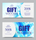 Gift company voucher template. On five and two hundred dollars with blue digital geometric square surface pattern. Vector illustration royalty free illustration
