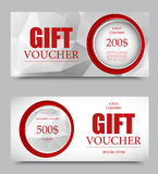 Gift company voucher template. On five and two hundred dollars with circles and gray polygonal geometric pattern. Vector illustration vector illustration