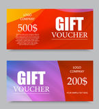 Gift company voucher template. On five and two hundred dollars with colorful light pattern. Vector illustration stock illustration