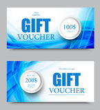 Gift company voucher template. On one and two hundred dollars with gray circles and light blue interweaving wavy lines pattern. Vector illustration stock illustration