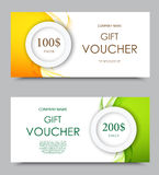 Gift company voucher template. On one and two hundred dollars with green and orange light wavy curved patterns. Vector illustration stock illustration