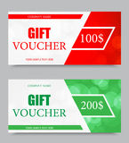 Gift company voucher template. On one and two hundred dollars with red and green light pattern. Vector illustration royalty free illustration