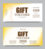 Gift company voucher template. On one and two hundred dollars with white background and light wavy pattern. Vector illustration stock illustration