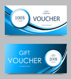 Gift company voucher template. On one and two hundred dollars with white circles and light blue wavy curved lines pattern. Vector illustration vector illustration