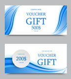 Gift company voucher template. On three and five hundred dollars with gray paper circle and dynamic light blue wavy curved lines pattern. Vector illustration stock illustration