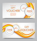 Gift company voucher template. On three and five hundred dollars with light circles and orange wavy bent lines pattern. Vector illustration royalty free illustration