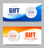 Gift company voucher template. On two and five hundred dollars with blue and orange light wavy soft patterns. Vector illustration vector illustration