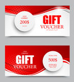 Gift company voucher template. On two and five hundred dollars with gray paper circles and red wavy bent lines pattern. Vector illustration royalty free illustration