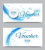 Gift company voucher template. On two and five hundred dollars with paper circle and wavy blue soft lines pattern. Vector illustration stock illustration