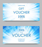 Gift company voucher template. On two and one hundred dollars with digital blue bright flashing pattern. Vector illustration royalty free illustration