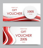 Gift company voucher template. On two and one hundred dollars with gray paper circle and red wavy curved lines pattern. Vector illustration vector illustration