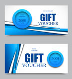Gift company voucher template. On two and three hundred dollars with blue circles and blue dynamic wavy lines pattern. Vector illustration royalty free illustration