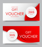 Gift company voucher template. On two and three hundred dollars with gray circles and dynamic red wavy elegant lines pattern. Vector illustration vector illustration