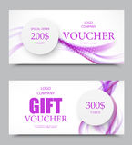 Gift company voucher template. On two and three hundred dollars with paper gray circles and purple wavy soft smoky lines pattern. Vector illustration royalty free illustration