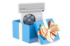 Gift concept, air conditioner inside gift box. 3D rendering Stock Photography
